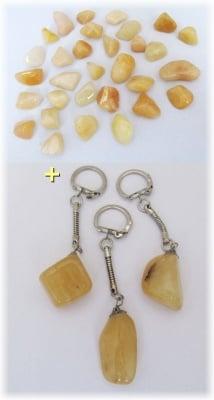 Комплект Ключодържател + Естествен камък КАЛЦИТ