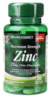 ЦИНК (ЦИНКОВ ГЛЮКОНАТ) таблетки 25 мг * 100 HOLLAND & BARRETT