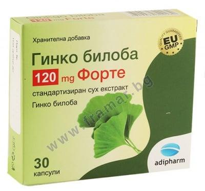 ГИНКО БИЛОБА ФОРТЕ капсули 120 мг * 30 АДИФАРМ