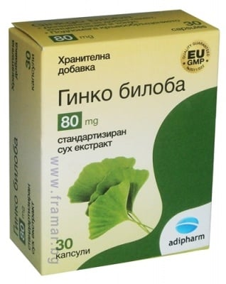 ГИНКО БИЛОБА капсули 80 мг * 30 АДИФАРМ