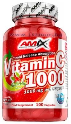 АМИКС ВИТАМИН Ц + ШИПКИ капсули 1000 мг * 100