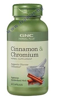 КАНЕЛА + ХРОМ капсули 500 мг. * 60 GNC