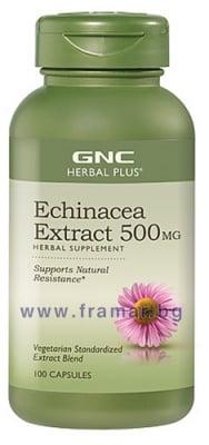 ЕХИНАЦЕЯ ЕКСТРАКТ капсули 500 мг. * 100 GNC