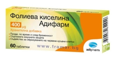 ФОЛИЕВА КИСЕЛИНА табл. 0.4 мг. * 60  АДИФАРМ
