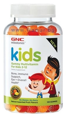 МУЛТИВИТАМИНИ ЗА ДЕЦА ОТ 2 ДО 12 ГОДИНИ дъвчащи таблетки * 120 GNC