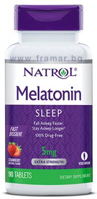НАТРОЛ МЕЛАТОНИН бързоразтворими таблетки 5 мг * 90