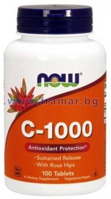 НАУ ФУДС ВИТАМИН Ц - 1000 мг. С ШИПКИ С УДЪЛЖЕНО ОСВОБОЖДАВАНЕ табл. * 100
