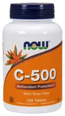 НАУ ФУДС ВИТАМИН Ц - 500 мг. С ШИПКИ таблетки * 250