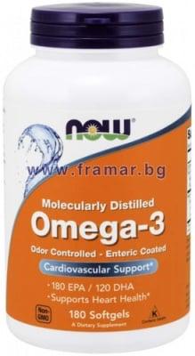 НАУ ФУДС ОМЕГА - 3 дражета 1000 мг * 180