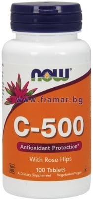 НАУ ФУДС ВИТАМИН Ц - 500 мг. С ШИПКИ таблетки * 100