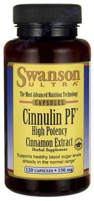 СУОНСЪН CINNULIN PF ЕКСТРАКТ ОТ КАНЕЛА капсули 150 мг. * 120
