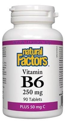 ВИТАМИН Б 6 таблетки 250 мг + ВИТАМИН Ц 50 мг * 90 НАТУРАЛ ФАКТОРС