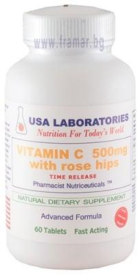ВИТАМИН Ц + ШИПКИ таблетки с удължено освобождаване 500 мг  * 60 USA LABORATORIES
