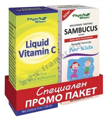 ВИТАМИН С сироп 120 мл + САМБУКУС сироп за деца 120 мл PHYTO WAVE