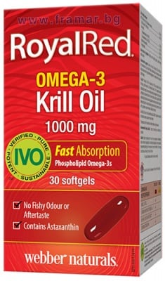 МАСЛО ОТ КРИЛ ОМЕГА-3 РОЯЛ РЕД капсули 1000 мг. * 30 УЕБЪР НАТУРАЛС