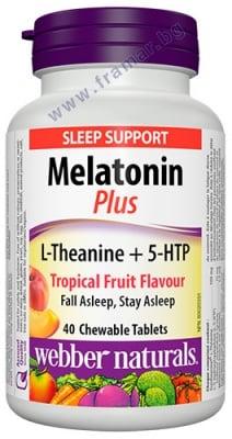 МЕЛАТОНИН + L-ТЕАНИН + 5-НТР дъвчащи таблетки * 40 УЕБЪР НАТУРАЛС