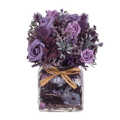 Рози микс в стъклена ваза - лила - 21 см