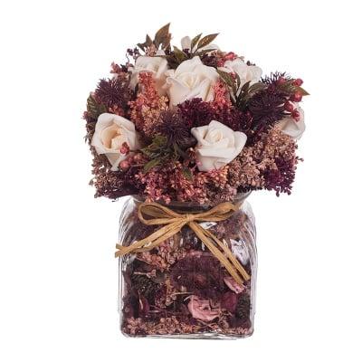 Рози микс в стъклена ваза - бургунди - 21 см