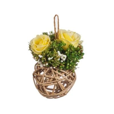 Аранжировка  роза -  светло жълта - 14 см