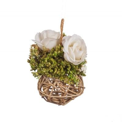 Аранжировка  роза - кремаво бяла - 14 см