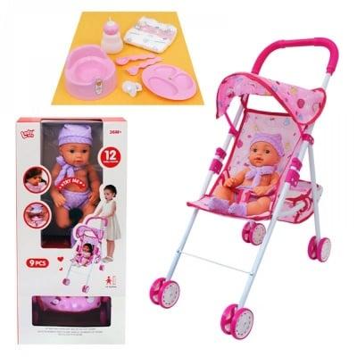 Комплект количка с пишкащо бебе и аксесоари