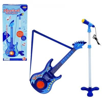 Комплект микрофон на стойка с китара /син/