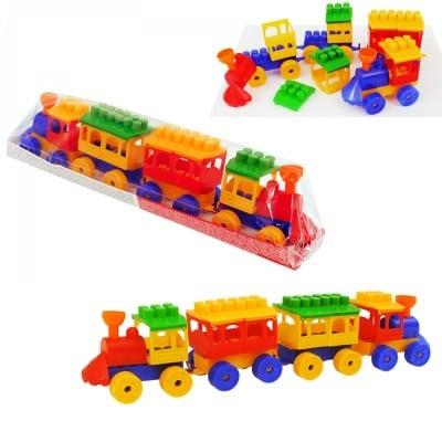 Конструктор 2 локомотив с 2 вагона /36 елемента/