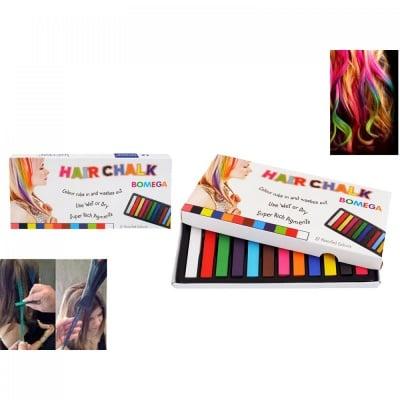 Цветни тебешири  за коса /12 броя/