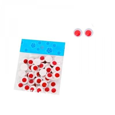Мърдащи цветни очички - Ф 1,5 см. /червен/