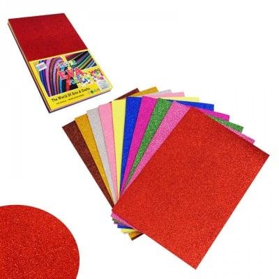 Цветни листи с брокат за декорация - EVA материал