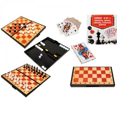 Забавна игра 4 в 1 /шах, табла, дама и карти/