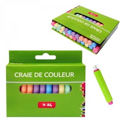 Цветни тебешири /24 броя/ + 1 брой ръкохватка с бял тебешир.