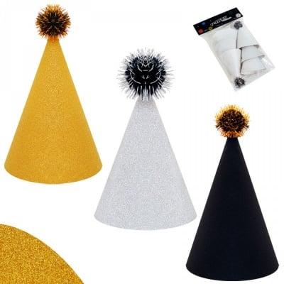 Парти шапки - брокат /6 броя в опаковка от цвят/