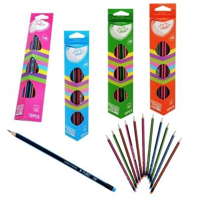 К-кт моливи НВ с цветна гумичка