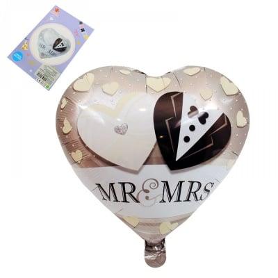 """Балон сърце """"MR. & MRS"""" /фолио/"""