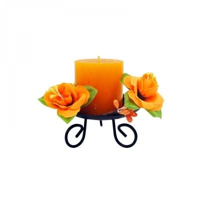 Ароматна свещ с метален свещник /оранжев/