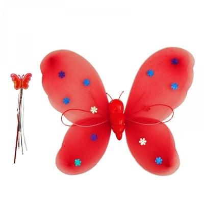"""Светещи парти крила и пръчица """"Пеперуда"""" /червен/"""