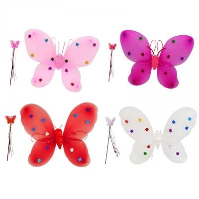 Светeщи парти крила и пръчица Пеперуда