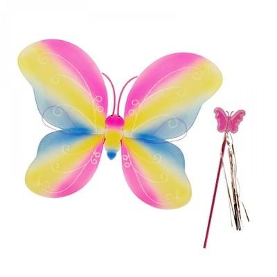 """Парти крила с пръчица """"Пеперуда"""" /розов/"""