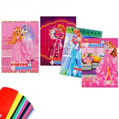 Книжка от цветен картон + цветни листи /за момичета/