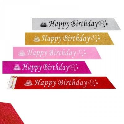 Парти лента Happy Birthday с брокат /12 броя в стек - микс/