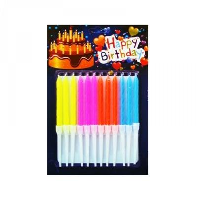 """Неонови свещички """"Happy Birthday' /12 броя/"""