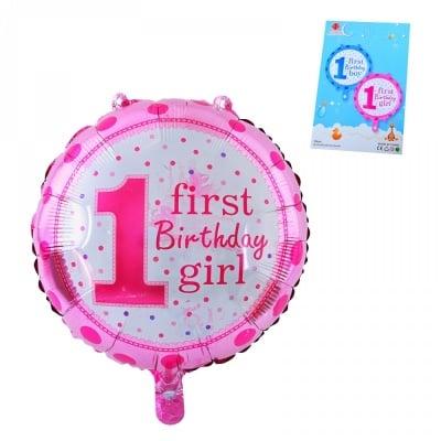 Балон First Birthday Girl /розов/