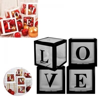 Комплект 4 кути за балони LOVE /черен/