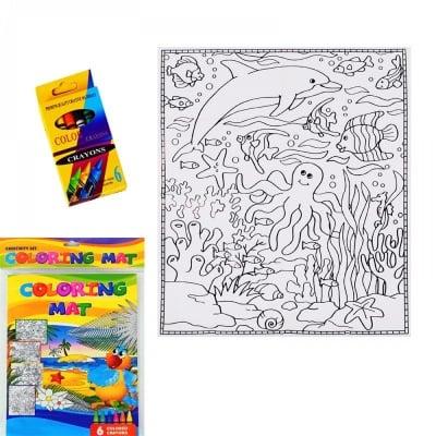 Плакат за оцветяване с 6 цвята пастели