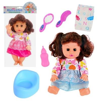 Пишкаща кукла с гърне, памперс и аксесоари /с машинка/
