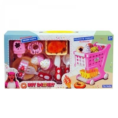 Комплект мини шопинг количка с хранителни продукти