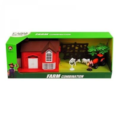 Комплект Ферма с трактор, фермер, животни