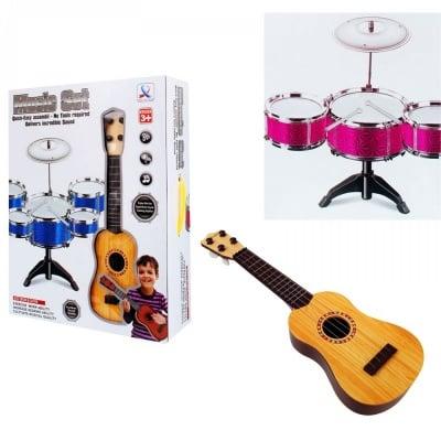 К-кт китара с барабани на стойка /розов/