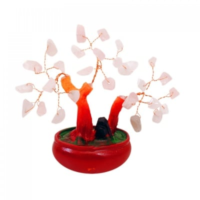 Дърво на Щастието с камъчета Розов кварц - талисман за добро здраве, чиста любов и топли чувства